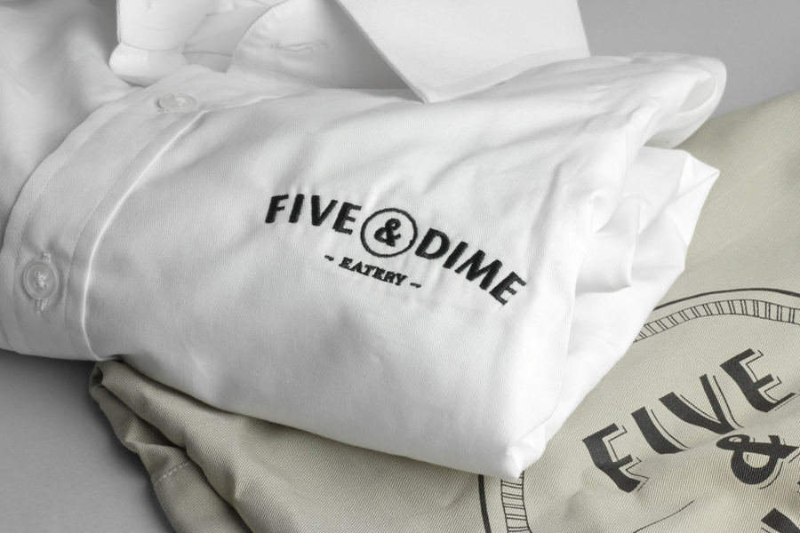 Logo as a stitched shirt detail designed by Bravo Company for Singapore cafe and restaurant Five & Dime