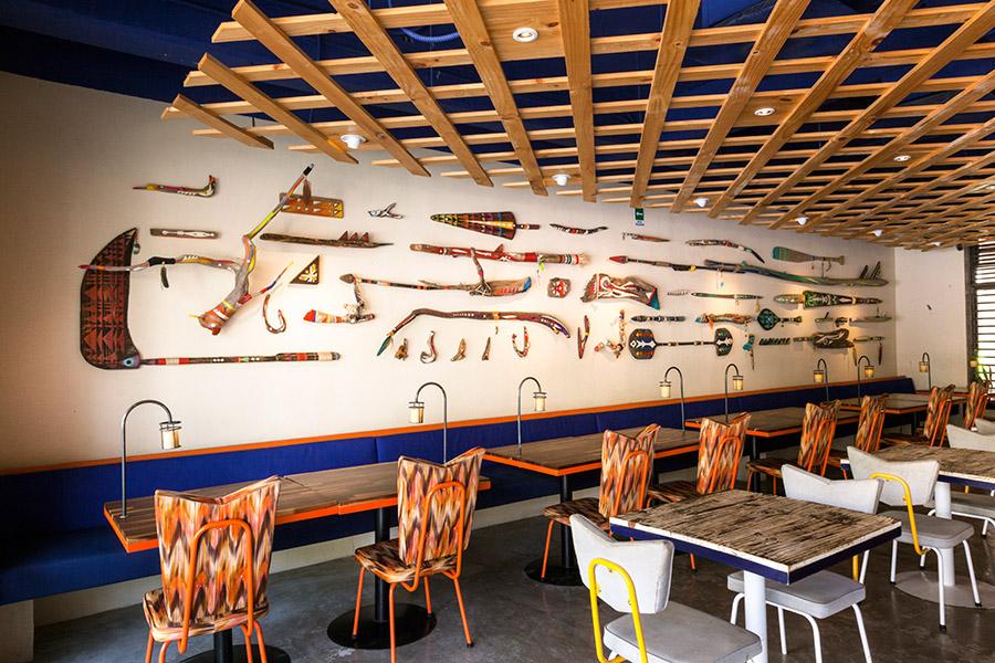 Interior for seafood restaurant La Peñita De Jaltemba designed by Savvy