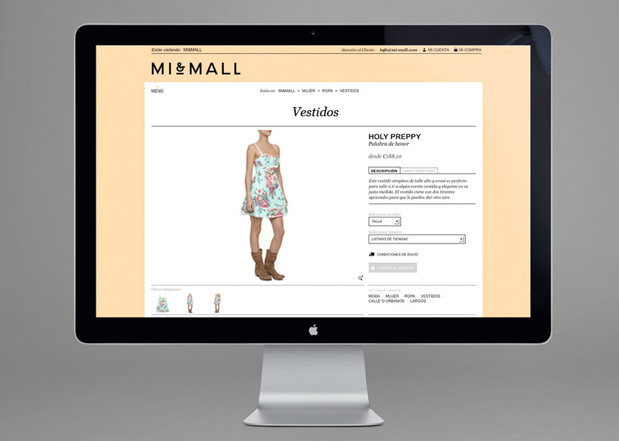 Website designed by Atipo for online fashion retailer Mi&Mall