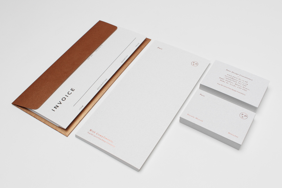 Stationery with copper foil and alabaster paper detail by Passport for interior design consultancy Pure