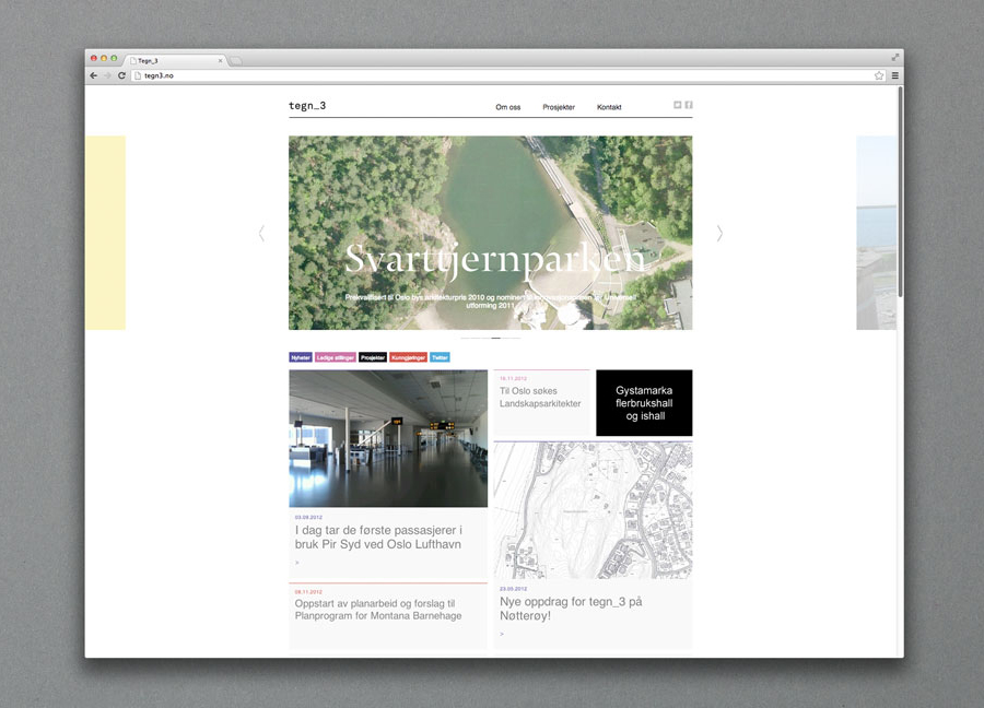 Website design by Neue for Norwegian architecture studio Tegn_3