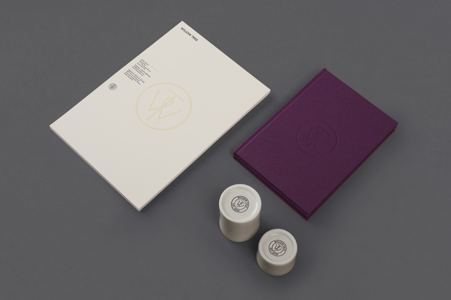Logo, stationery and notepad with purple textile cover designed by Bunch for business consultancy Willow Tree