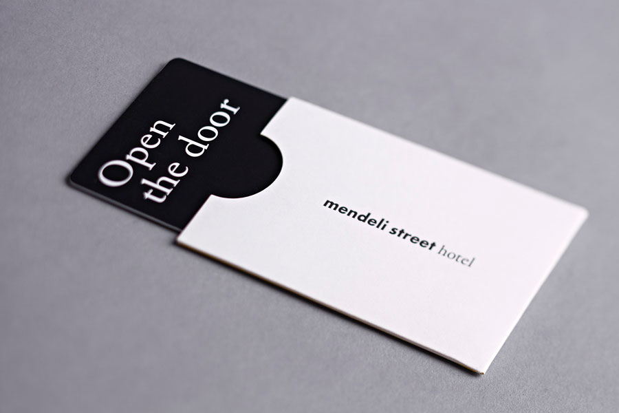 Key card and sleeve created for Tel aviv hotel Mendeli Street designed by Koniak