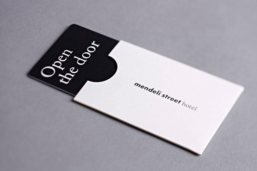 Key card and sleeve created for Tel aviv hotel Mendeli Street designed by Koniak