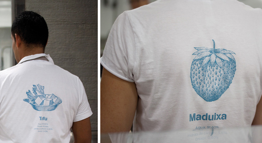 Uniform with illustrative detail designed by Mayuscula for Spanish organic supermarket Obbio