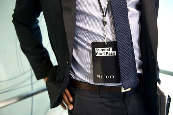 Logo, pass and lanyard designed by Pentagram for not-for-profit, technology and entrepreneurship organisation Platform