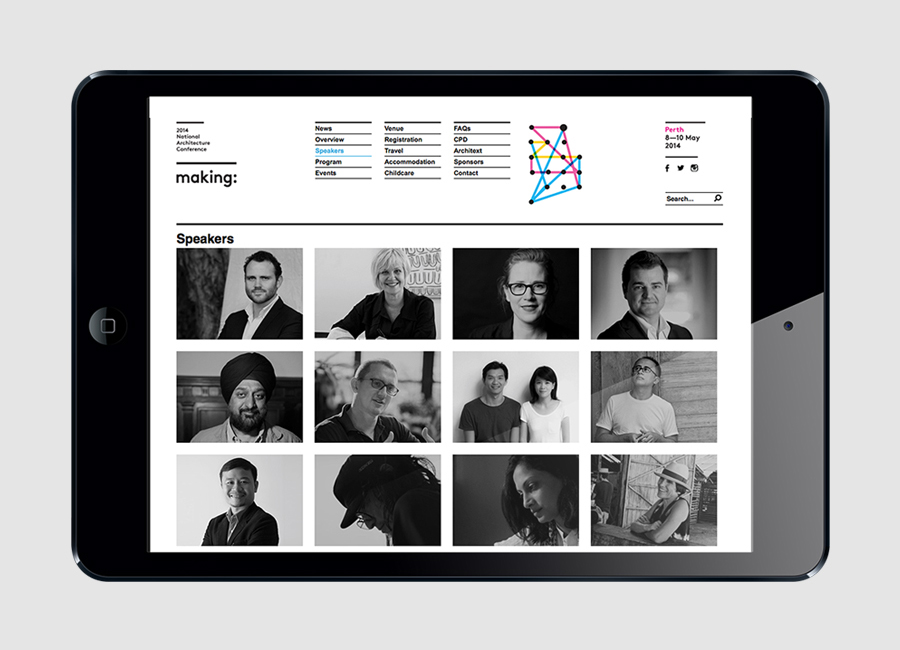 Visual identity and website designed by Garbett for the Australian Institute of Architects' 2014 conference Making