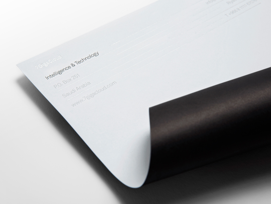 Logo and letterhead with silver foil detail designed by Face for Saudi Arabian IT consultancy 7GigaCloud