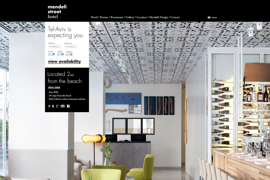 Website created for Tel aviv hotel Mendeli Street designed by Koniak