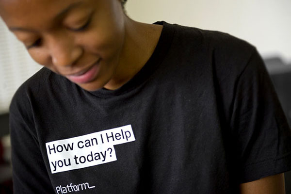 Logo and T-shirt designed by Pentagram for not-for-profit, technology and entrepreneurship organisation Platform
