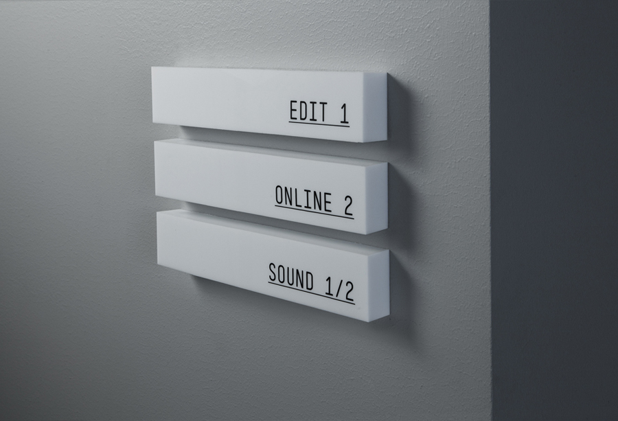 Interior signage for Storyline Studios designed by Work In Progress