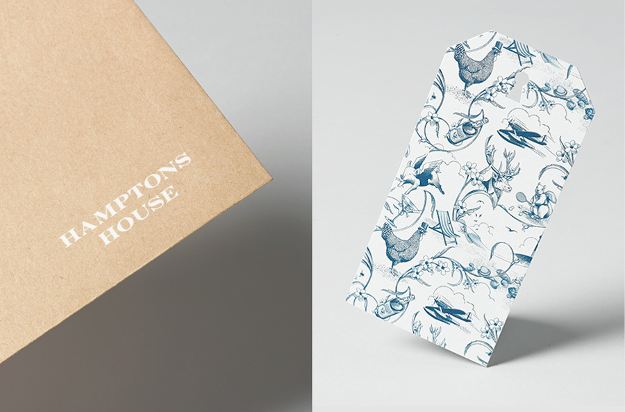 Tag with illustrative detail designed by Moffitt.Moffitt for Sydney furniture and homeware retailer Hamptons House