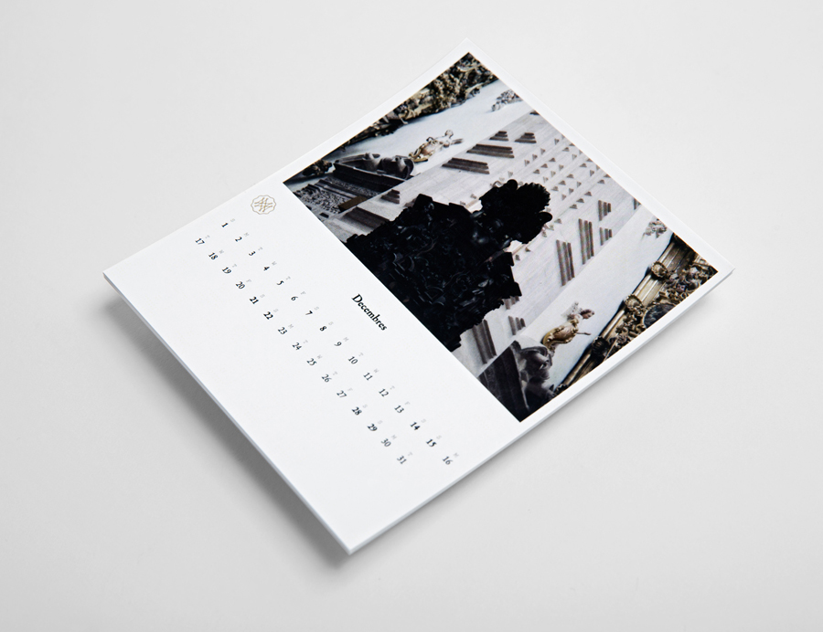 Logo and calendar with gold foil detail for on-line art, design, architecture and photography journal Mal de Mar designed by Face