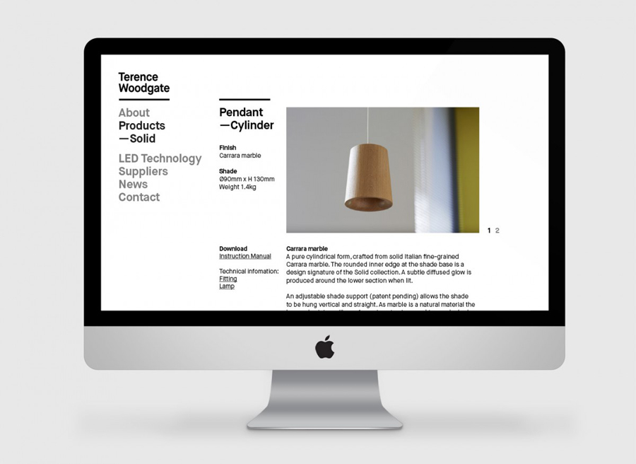 Website for lighting design and manufacturer Terence Woodgate designed by Charlie Smith Design