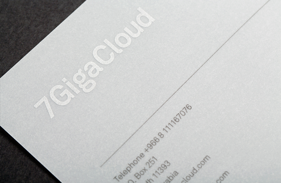 Business card with silver foil detail designed by Face for Saudi Arabian IT consultancy 7GigaCloud