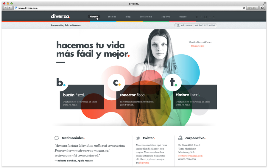 Logo and website for Mexican on-line, electronic invoicing service provider Diverza designed by Face Creative