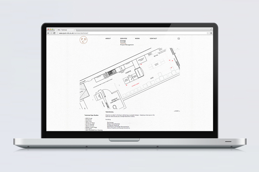 Website by Passport for interior design consultancy Pure