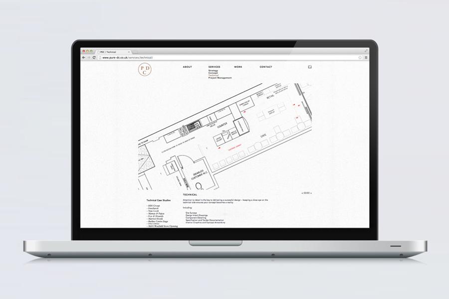 Website by Passport for interior design consultancy Pure