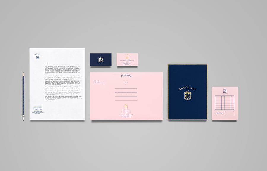 Logo and stationery with gold foil detail designed by Anagrama for event panner Checklist