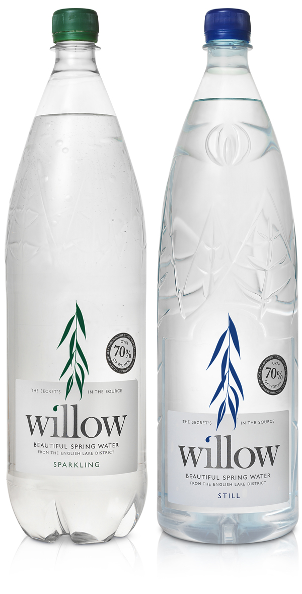 Packaging with silver spot colour designed by Kirsty Mcmaster for Willow, a water sourced and bottled in the English Lake District