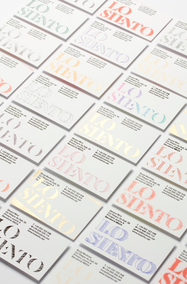 Logo and custom stencilled business cards created by Mucho for Barcelona based design studio Lo Siento
