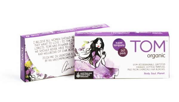 Packaging with watercolour illustrative detail designed by Truly Deeply for biodegradable feminine hygiene line Tom Organic