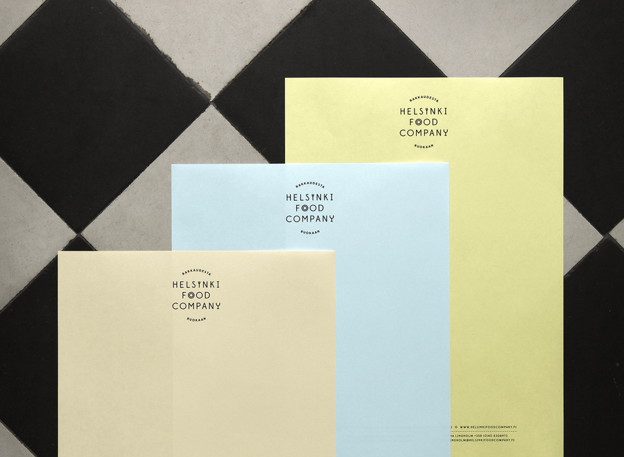 Logo and pastel letterhead for Helsinki Food Company designed by Werklig
