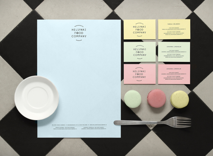 Logo and pastel coloured stationery for Helsinki Food Company designed by Werklig