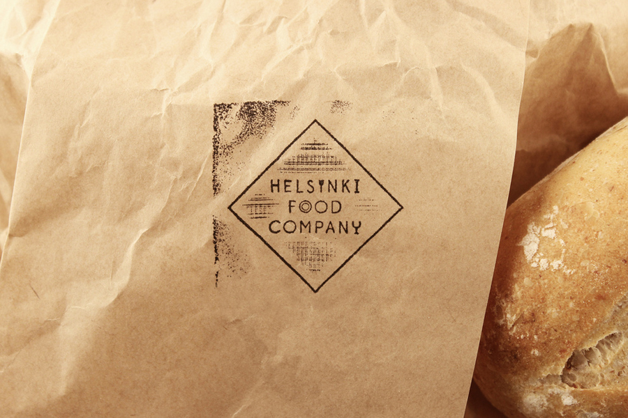 Logo and stamp for Helsinki Food Company designed by Werklig
