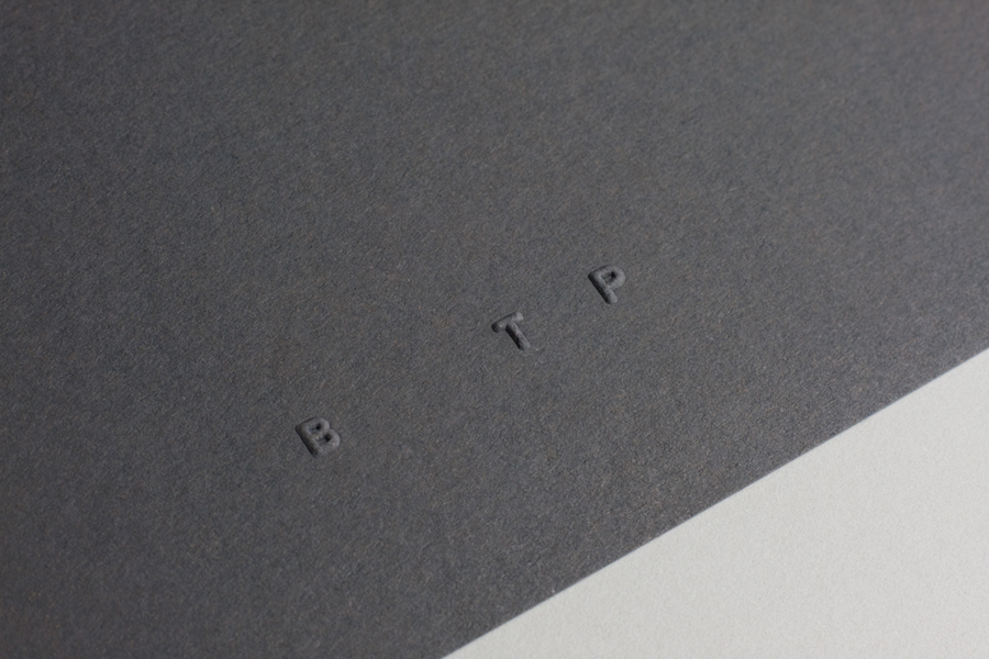 Stationery with embossed logo detail designed by BTP