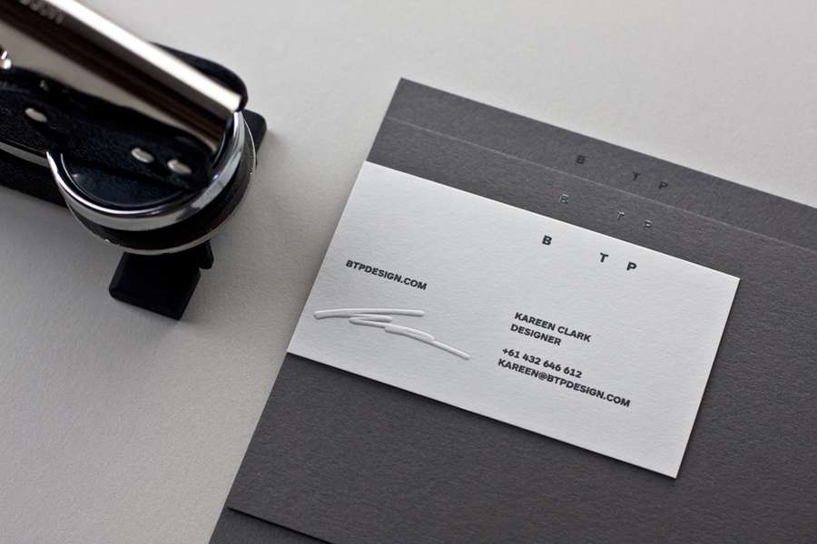 Logo and stationery with embossed detail designed by BTP
