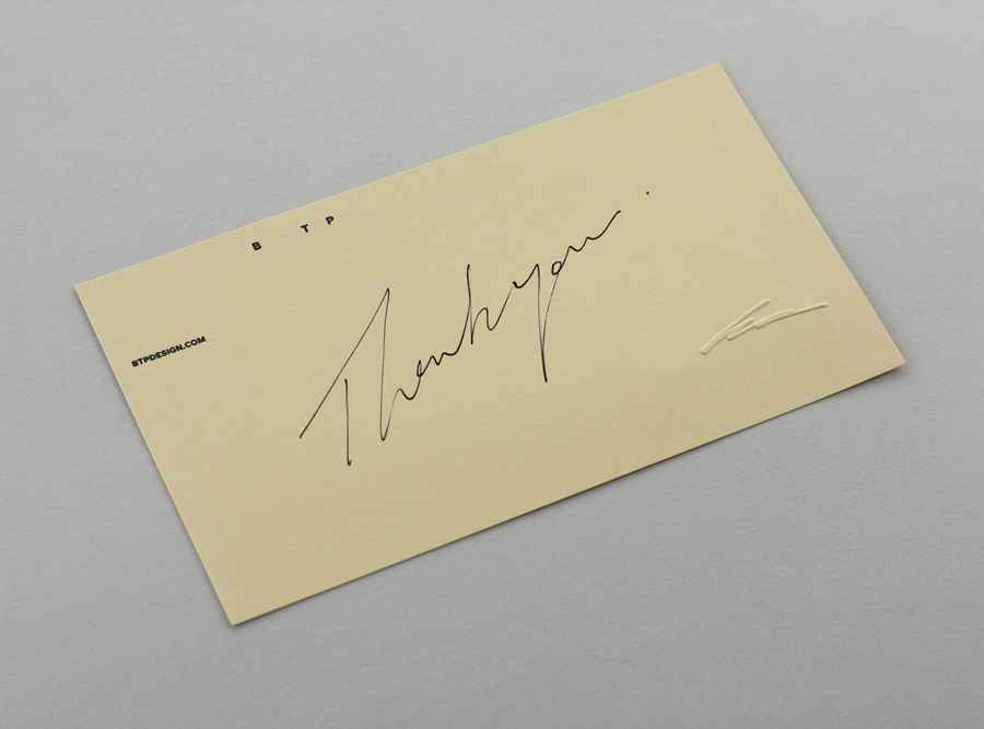 Compliment slip with embossed signature detail designed by BTP
