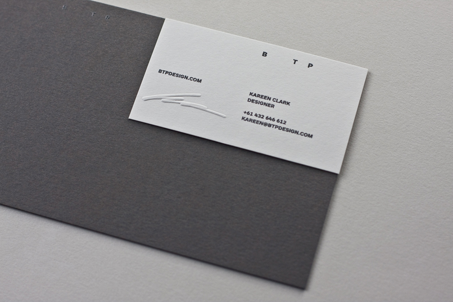 Business card with embossed signature detail designed by BTP