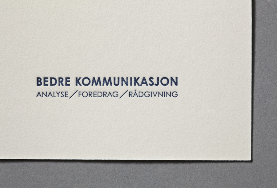 Logo design by Work In Progress for Oslo-based communication specialist Bedre Kommunikasjon