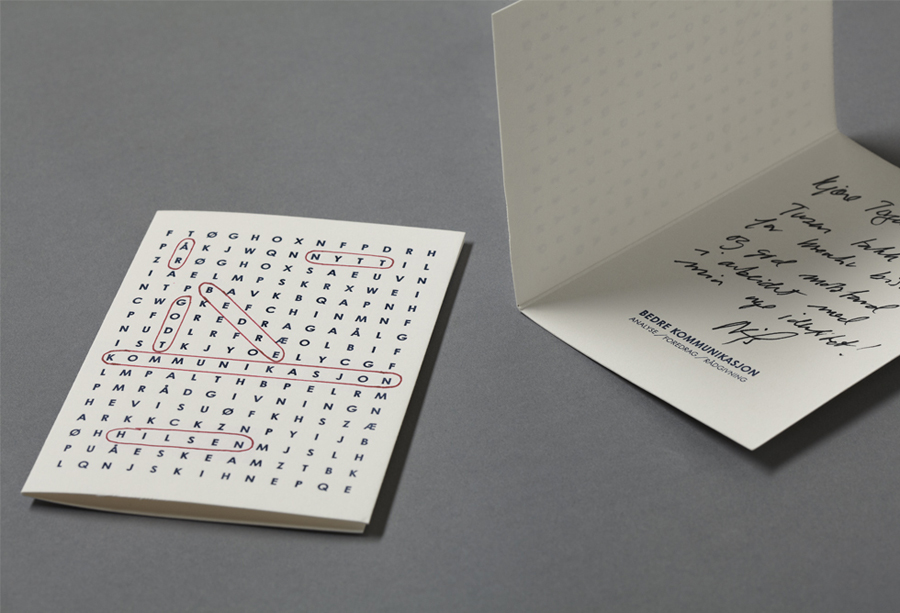 Note card design by Work In Progress for Oslo-based communication specialist Bedre Kommunikasjon