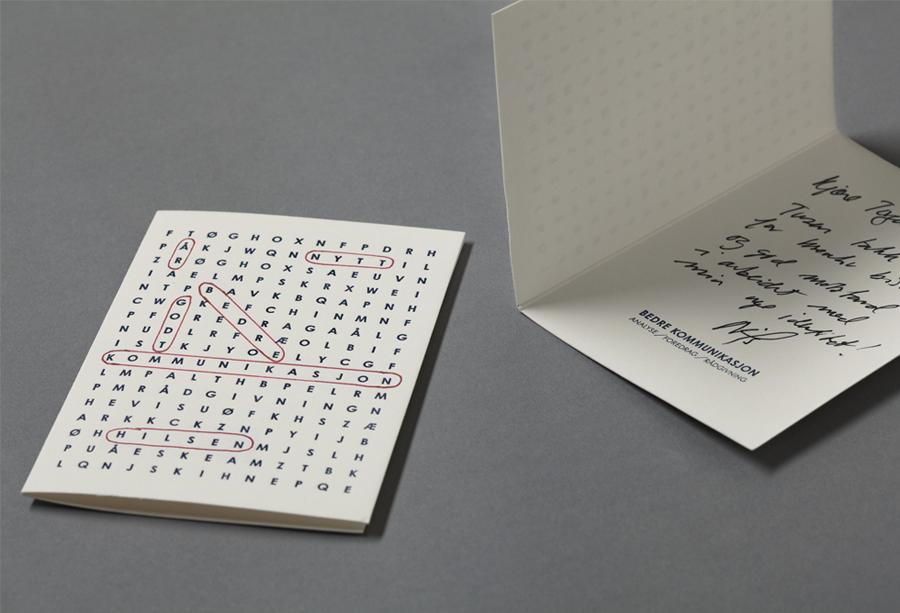Note card design by Work In Progress for Oslo-based communication specialist Bedre Kommunikasjon