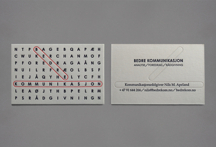 Logo and letterpress business card design by Work In Progress for Oslo-based communication specialist Bedre Kommunikasjon