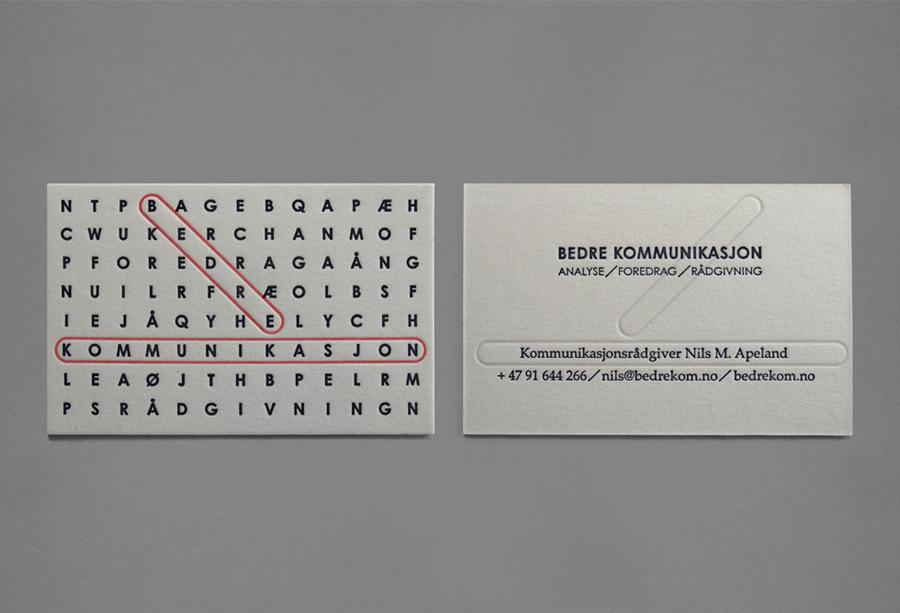 Logo and letterpress business card design by Work In Progress for Oslo-based communication specialist Bedre Kommunikasjon