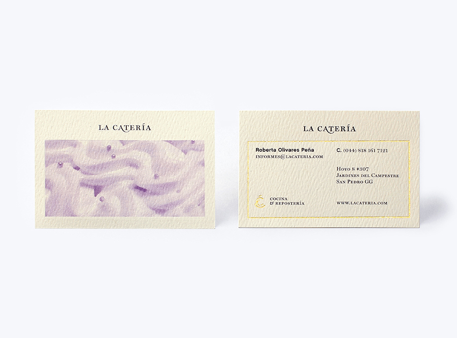 Logotype and business card with gold foil print finish designed by Firmalt for San Pedro catering business La Catería
