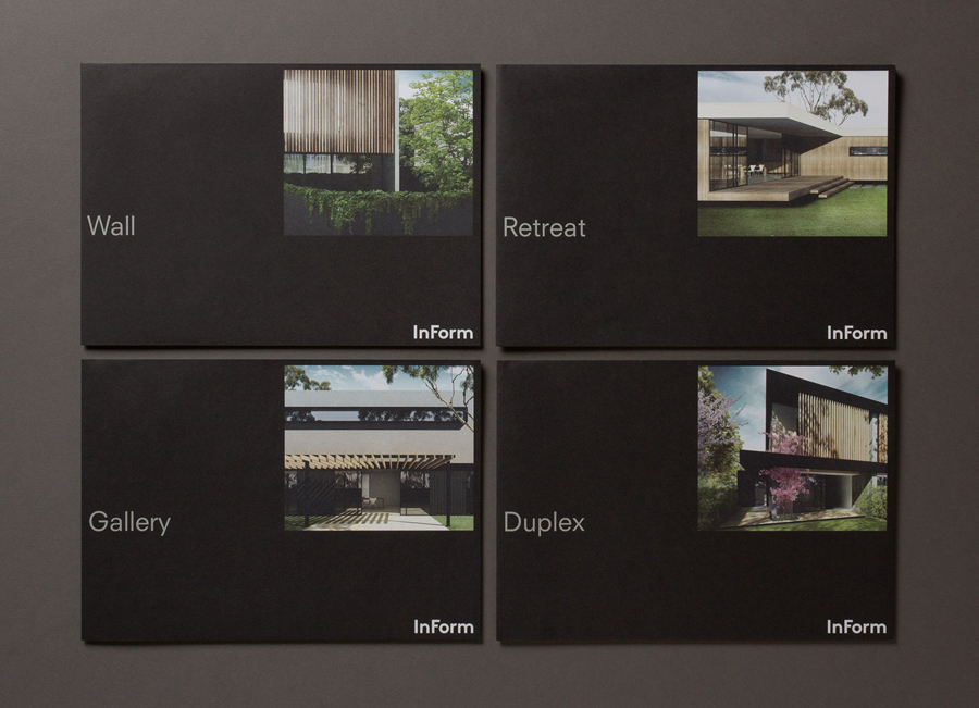Logo and brochure for architectural design and building firm InForm by Hofstede
