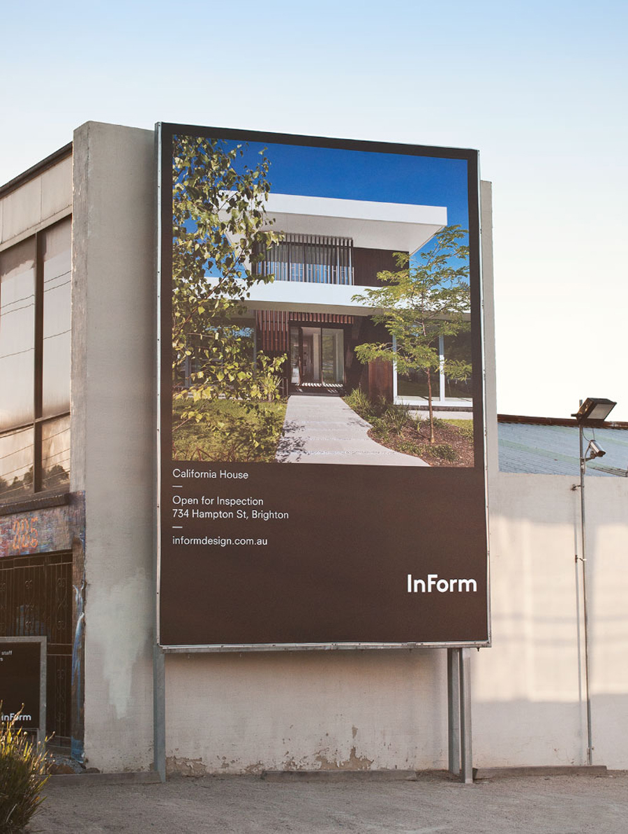 Logo and outdoor advertising for architectural design and building firm InForm created by Hofstede