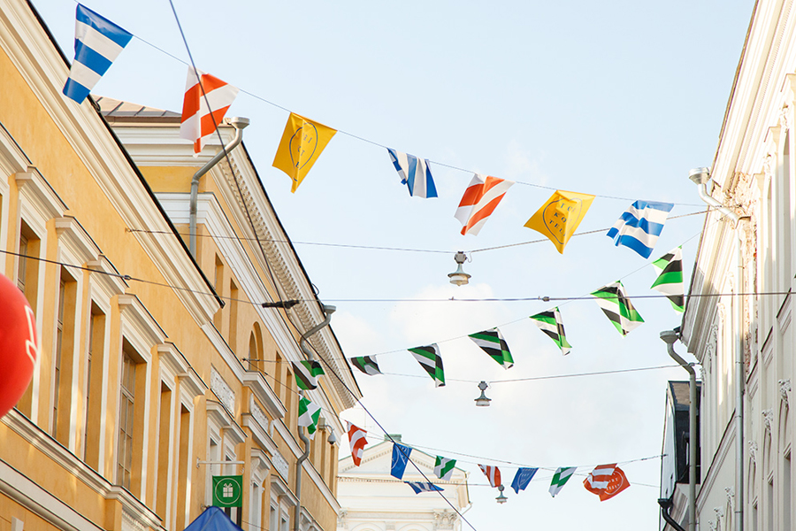 Logo, flags and patterns for Torikorttelit, the old town district of Helsinki, designed by KokoroMoi