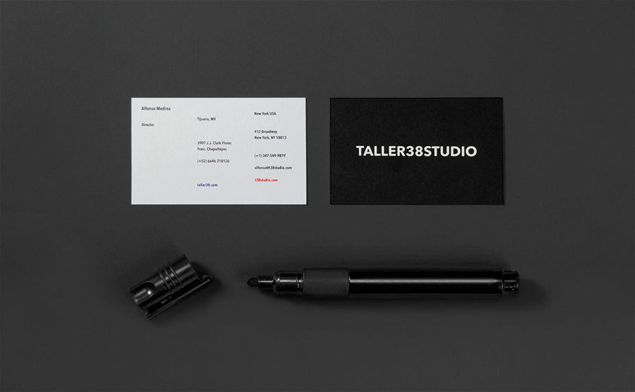 Logo and business card with marker detail for property developer T38 and and architecture workshop Taller 38 designed by Savvy