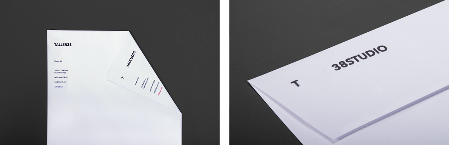 Logo and stationery for property developer T38 and and architecture workshop Taller 38 designed by Savvy