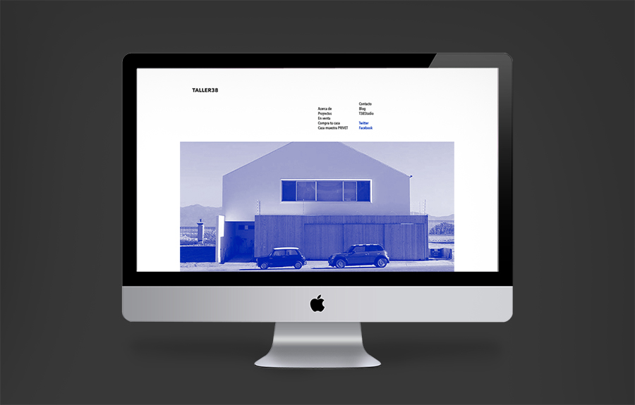 Logo and website with blue tinted photos for property developer T38 and and architecture workshop Taller 38 designed by Savvy