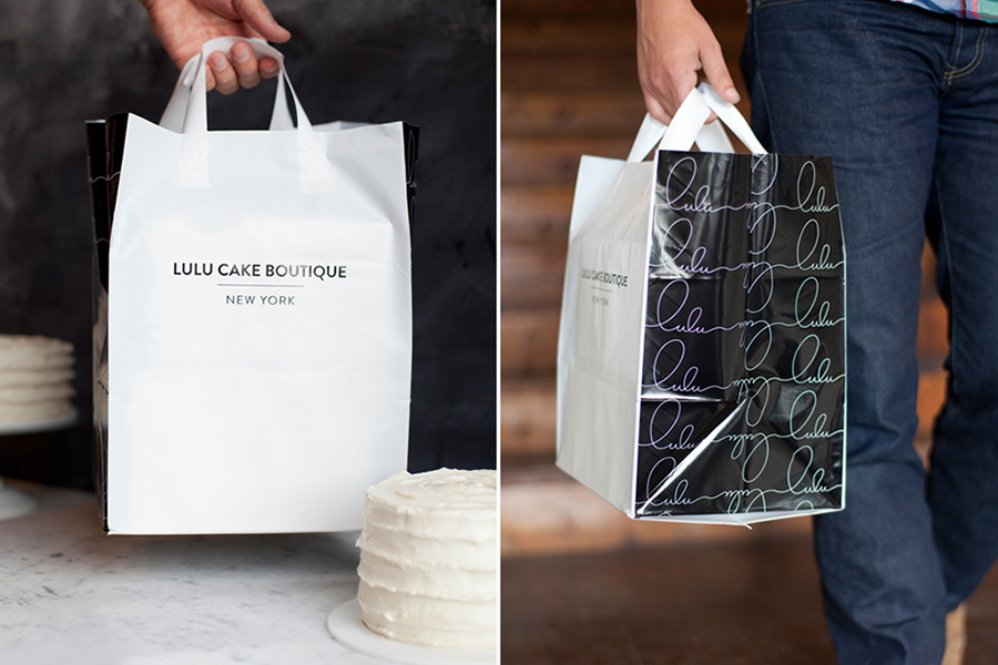 Logo and packaging for Lulu Cake Boutique designed by Peck and Co.