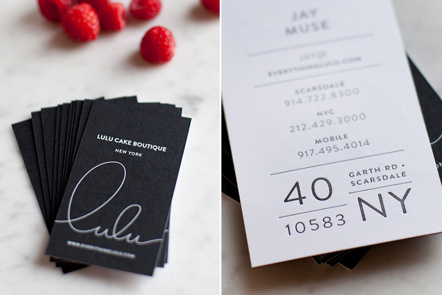 Logo and letterpress business card design for Lulu Cake Boutique by Peck and Co.