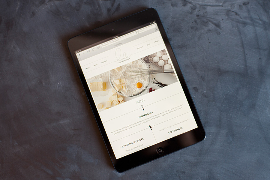 Website design by Peck and Co. for Lulu Cake Boutique