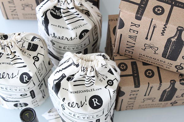 Rewined candle packaging designed by Stitch
