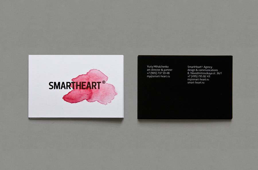 New brand identity for smartheart bpo logo and bright watercolour business cards for design agency smartheart reheart Gallery